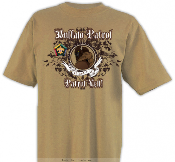 Wood Badge Filigree Buffalo T-shirt Design