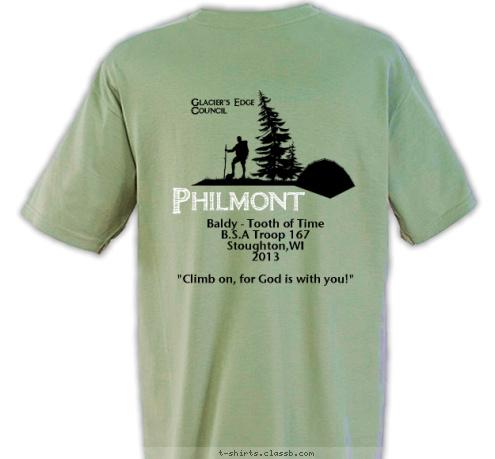 see custom t shirt design 2013 philmont trek front and back designed